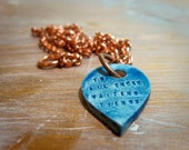 to all these waiting things -- porcelain poem pendant
