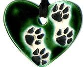 Cat Paw Heart Ceramic Necklace inGreen