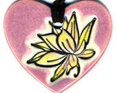Lotus Flower Heart Ceramic Necklace in Pink