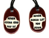 Best Friend Ceramic Necklace Set in Red Wine