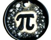 Pi Symbol Ceramic Necklace in Black and Gray