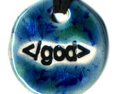 End God Ceramic Necklace in Blue and Green