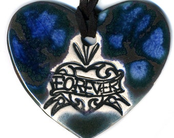 Forever Tattoo Heart Ceramic Necklace