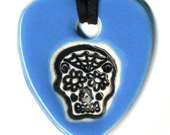 Calavera or Sugar Skull Ceramic Necklace in Baby Blue