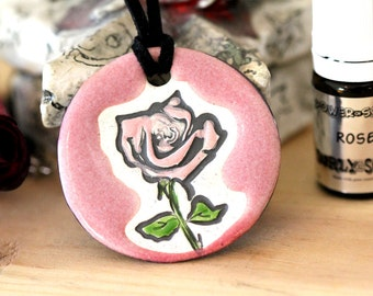 Rose Scented Ceramic Necklace with Rose Essential Oil in Pink medium size