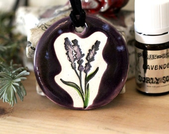 Lavender Scented Ceramic Necklace with Lavender Essential Oil in medium size