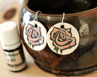 Pink Rose Scented Ceramic Earrings with Rose Essential Oil