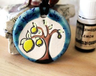 Lemon Scented Ceramic Tree Necklace with Lemon Essential Oil medium size