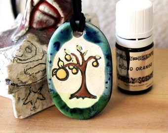 Blood Orange Scented Ceramic Tree Necklace with Blood Orange Essential Oil small size