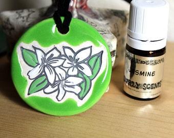 Jasmine Scented Ceramic Flower Necklace with Jasmine Essential Oil medium size