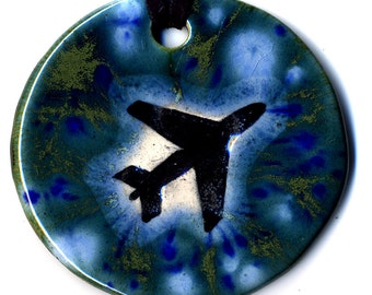 Airplane Ceramic Necklace In Blues