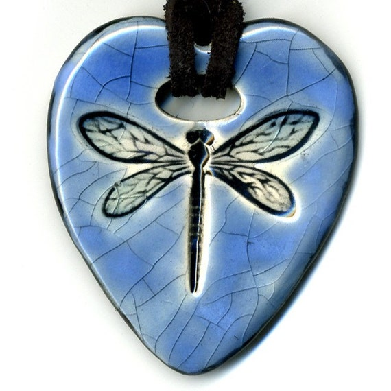 Dragonfly Heart in Antique Blue Crackle