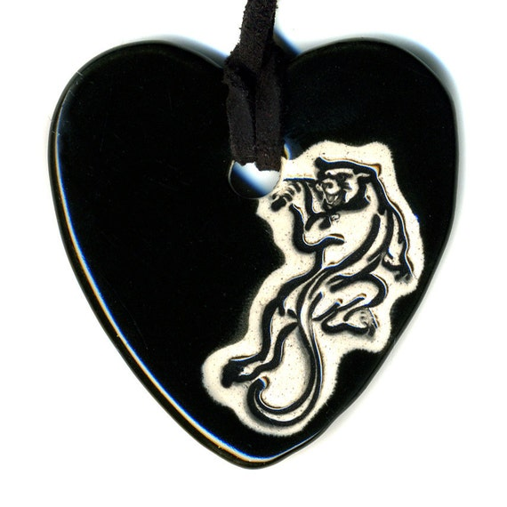 Panther Heart Ceramic Necklace