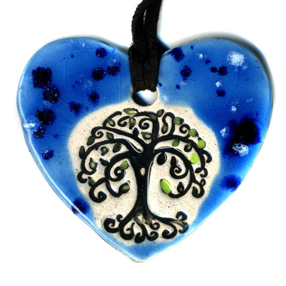 Tree Ceramic Necklace in Spotted Blue