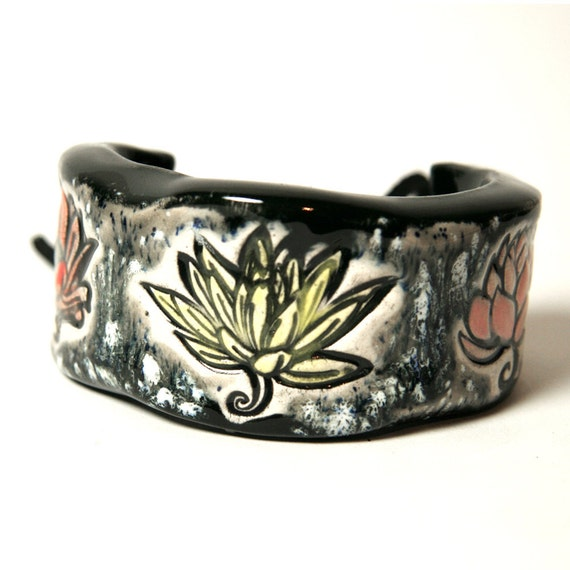 Lotus Flower  Bracelet, Bangle or Cuff Size 6.5