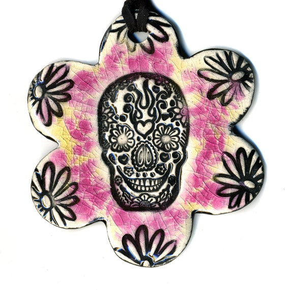 Day of the Dead Skull Flower Ceramic Necklace in Pink