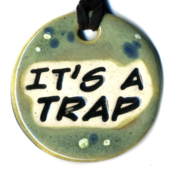It's a Trap Ceramic Necklace in Green, Blue and White