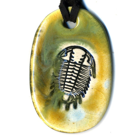 Trilobite Ceramic Necklace in Gold and Green