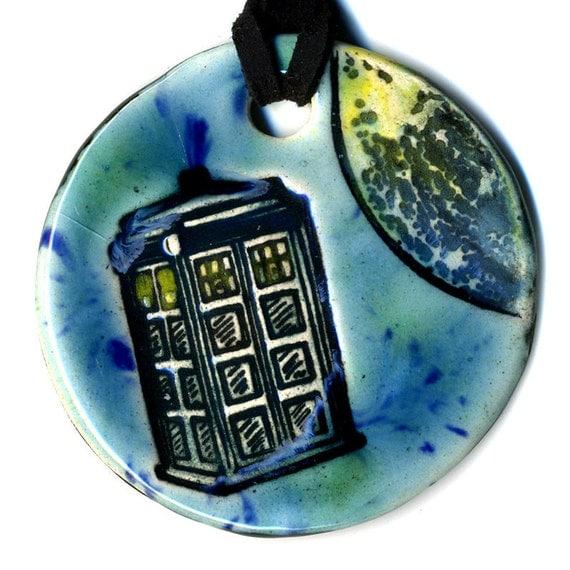 Surlyardis In Space Ceramic Necklace In Blue