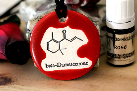 Rose Scented Ceramic Chemistry Necklace with Rose Essential Oil medium size
