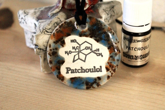 Patchouli Scented Ceramic Chemistry Necklace with Patchouli Oil in medium size