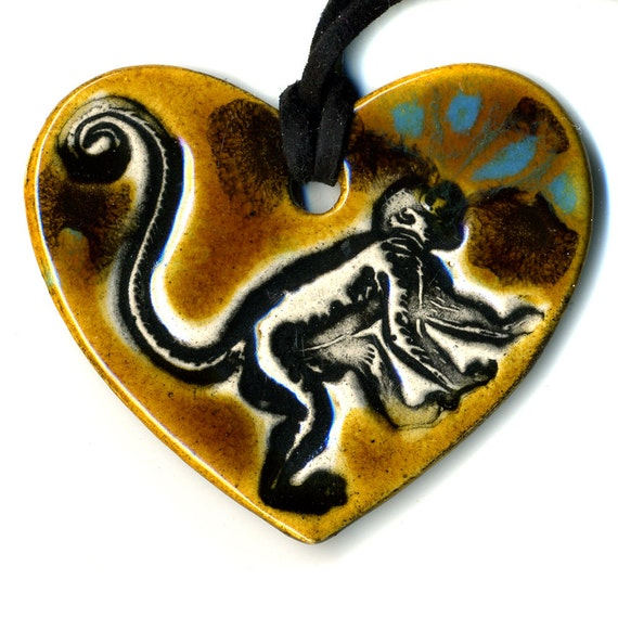 Monkey Love Ceramic Necklace in Speckled Brown