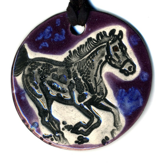 Horse Ceramic Necklace in Purple and Blue