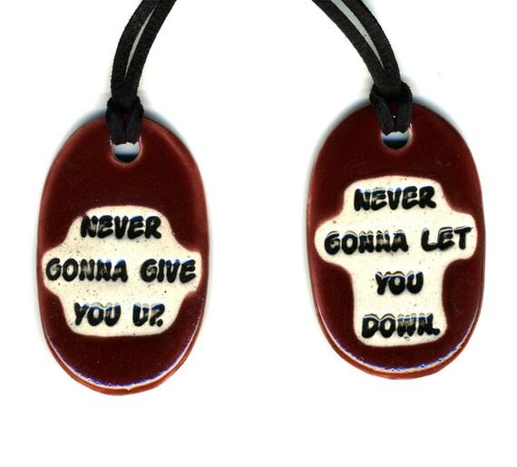 Best Friend Ceramic Necklace Set in Red Wine