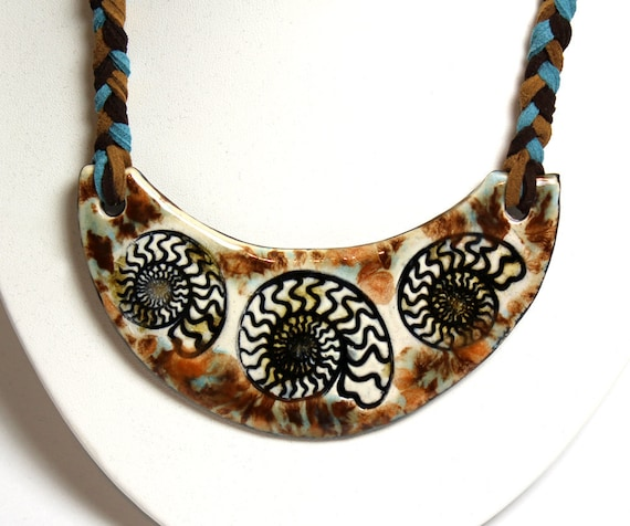 Ammonite Ceramic Necklace with Braided cord in Blue and Brown 21""