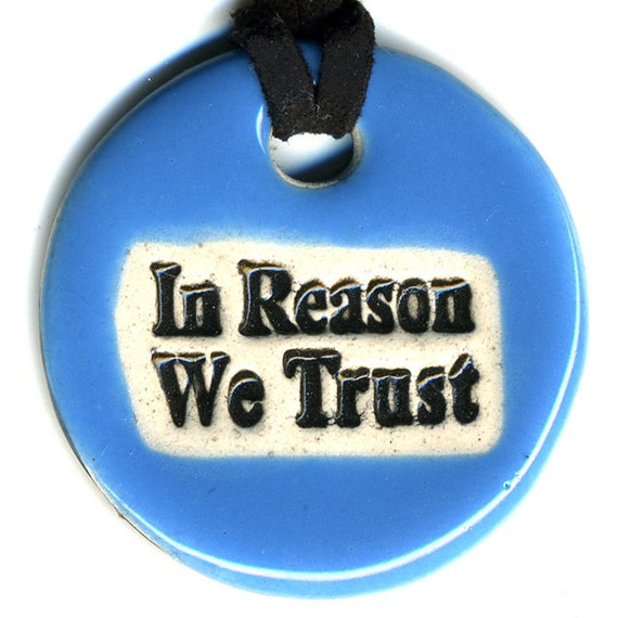 In Reason We Trust Ceramic Necklace in Blue