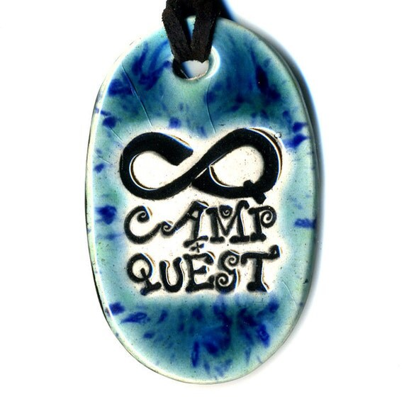 Camp Quest Fundraiser Ceramic Necklace in Blue and Green