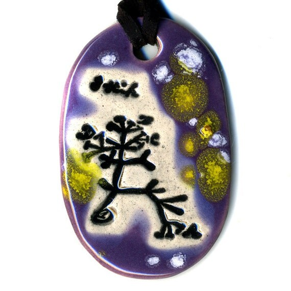 The Original Tree of Life Ceramic Necklace or Ode to Charles Darwin in Spotted Purple