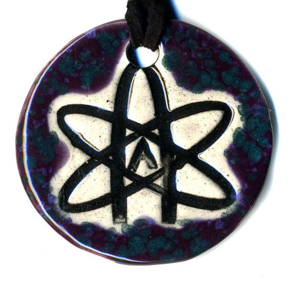 Atheist Ceramic Necklace in Speckled Purple