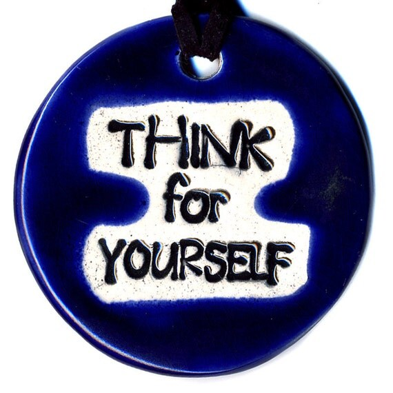 Think For Yourself Ceramic Necklace in Midnight Blue