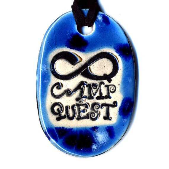 Camp Quest Fundraiser Ceramic Necklace in Spotted Blue