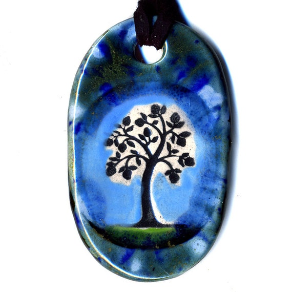 Tree Ceramic Necklace in Blues