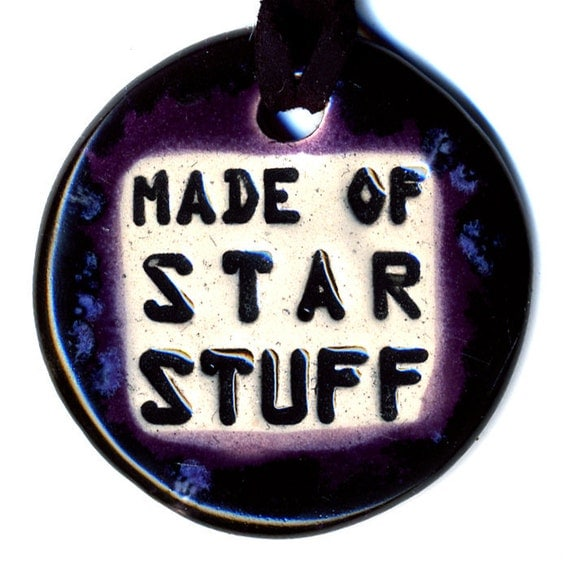 Made of Star Stuff Ceramic Necklace in Black and Purple