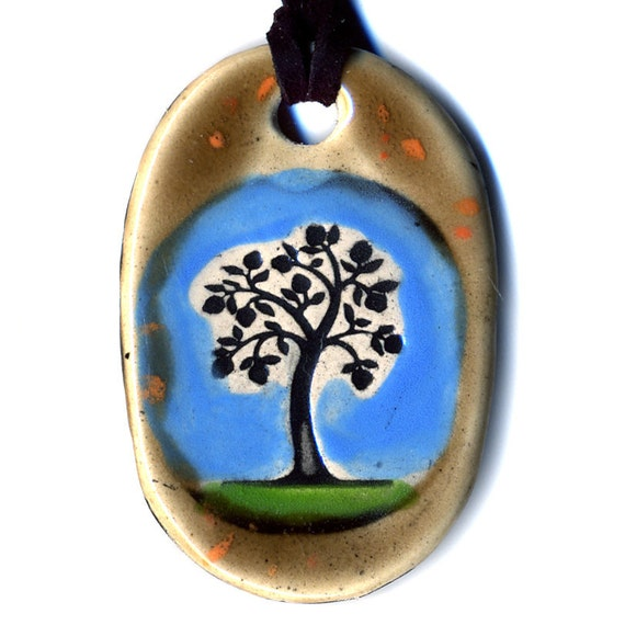 Tree Ceramic Necklace in Speckled Brown