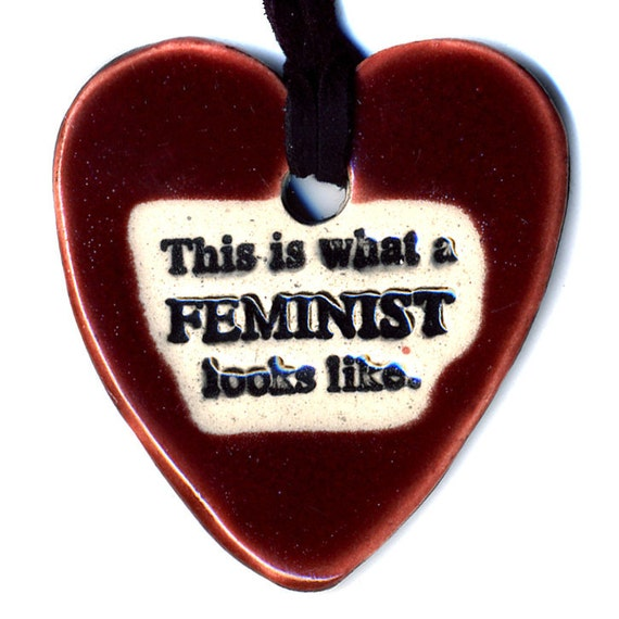 This is What a Feminist Looks Like Ceramic Heart Necklace in Red WIne