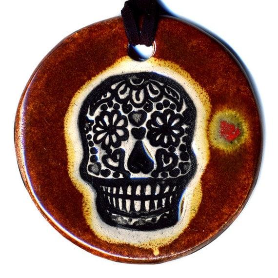 Calavera or Sugar Skull Ceramic Necklace In Brown