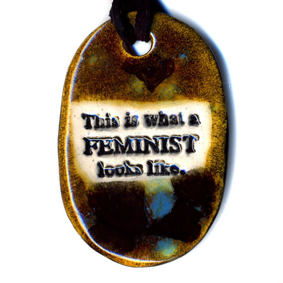 This is What A Feminist Looks Like Ceramic Necklace in Spotted Brown