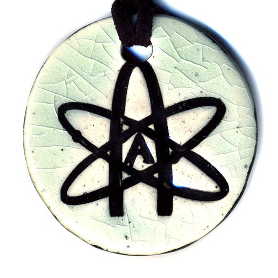 Atheist Ceramic Necklace in Crackle