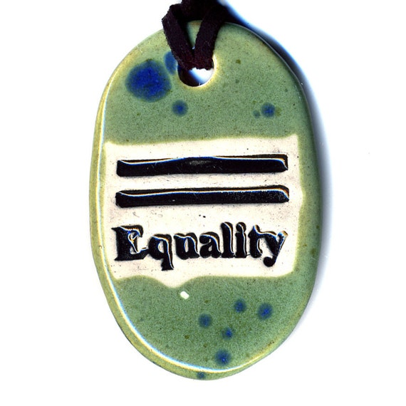 Equality Ceramic Necklace in Spotted Green