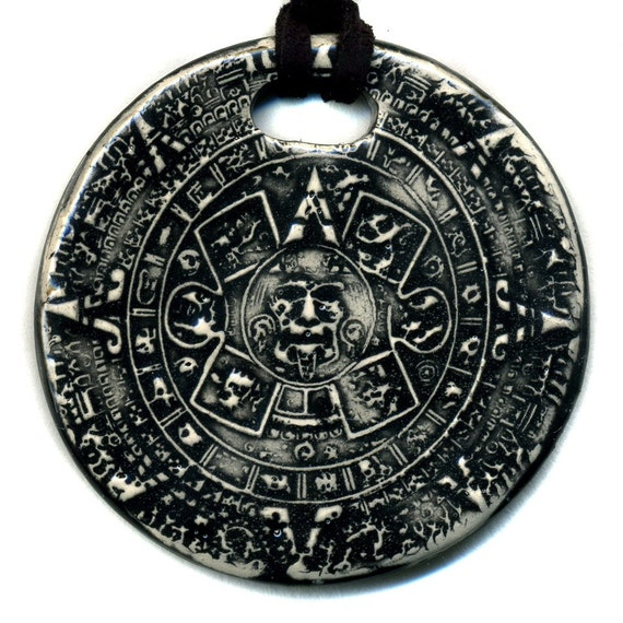 Aztec calendar or sun stone necklace by surly on etsy