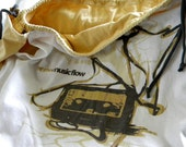 MixTape Lined SATCHEL Laptop TECHIE Cozy Sleeve Cover Urban Pouch Purse ONE upcycled from tShirt Material sleeves and Fonts