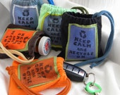 Keep Calm and Recycle On Pill Pouch  SET of TWO Upcycled Jewelry Gift Bag/ Party Favor / Custom 4 inch by 4 inch