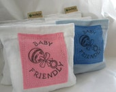 Baby Friendly Carbon Footprint Rattle Patch Lavender Sachet Dryer Pillow Sheets Organic SET of THREE