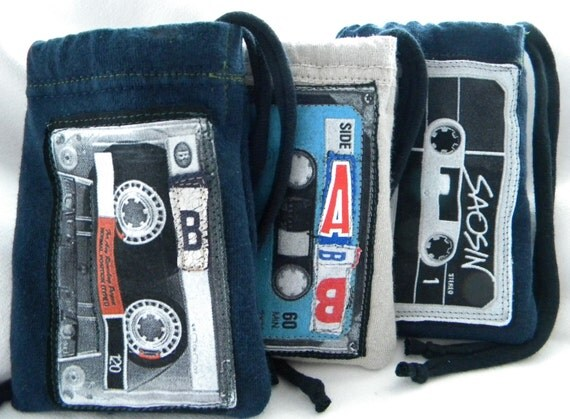 Lined MIXTAPE Urban Pouch ONE Upcycled from tShirt sleeves and Fonts Saosin