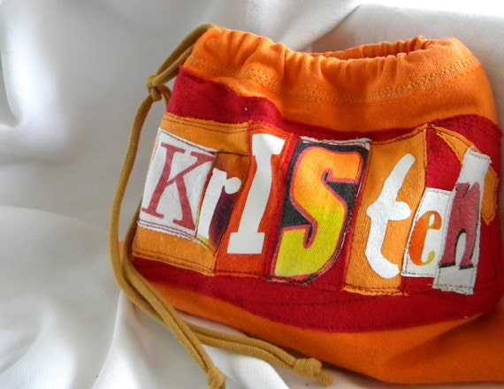 Name your Stuff ONE What's Your Word LINED Wristlet  Pouch Custom made 100% from tshirt sleeves material & fonts