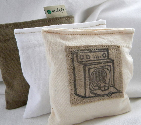 Lavender Sachet Dryer Pillow Sheets Alternative Organic  Upcycled from tShirt Material SET of THREE